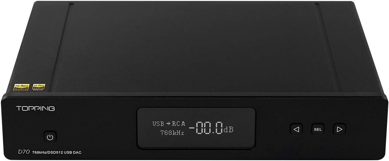 TOPPING D70 DAC AK44972 XMOS XU208 USB DSD512 Native 32Bit/768kHz Balance XLR Decoder with Remote Control (Black)