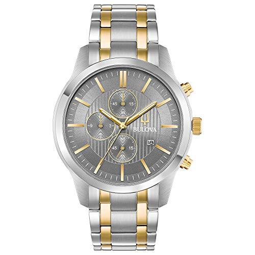 Bulova Men's Two-Tone Chronograph Watch, Grey Dial
