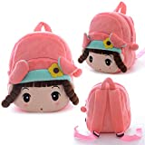 Gloveleya Kid's Angela Girl Cartoon Plush Backpack School Shoulder Bags Pink 8'' for 1-3 Years Old Kids