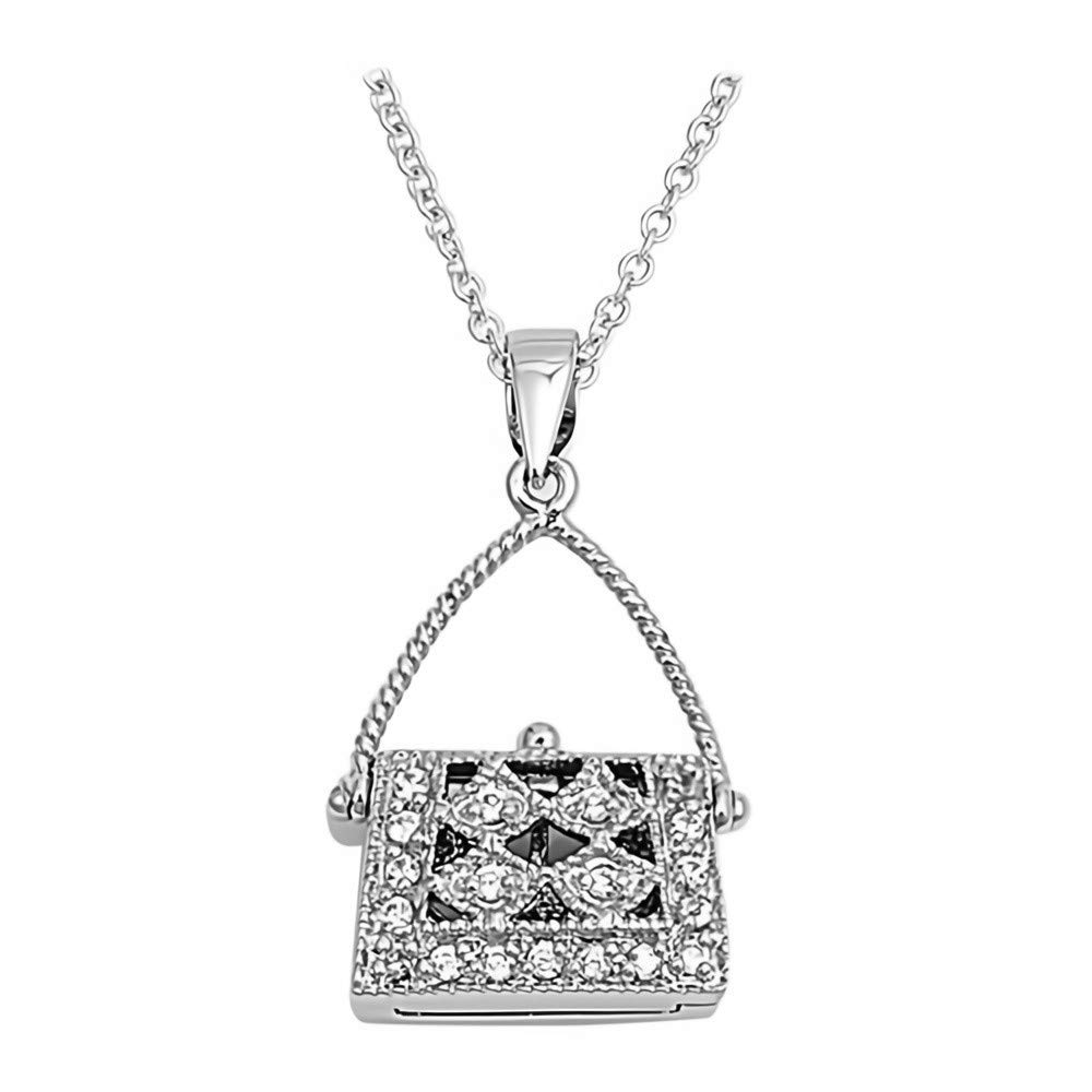 Clear Glitzs Jewels 925 Sterling Silver Cubic Zirconia Necklace for Women