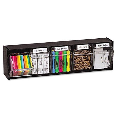 Deflecto 20504OP Tilt Bin Plastic Storage System w/5 Bins, 23 5/8 x 5 1/4 x 6 1/2, Black ()