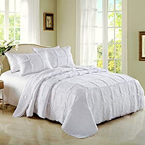 Aivedo 100% Cotton White Rose Garland Quilt Set 3 Piece Bedding Set,Mother's Day Gift,Bedspread Set,Comforter Set-King Size