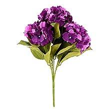 Soledi Artificial Silk Fake 5 Heads Flower Bunch Bouquet Home Hotel Wedding Party Garden Floral Decor Hydrangea (Purple)