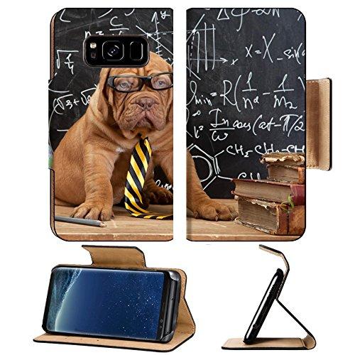 Mastiff Ornaments - Liili Premium Samsung Galaxy S8 Flip Pu Leather Wallet Case ID: 27363355 Young cute dog in front of blackboard during a math class Dogue de Bordeaux Puppy French mastiff