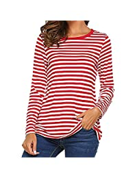 OCEAN-STORE Women Long Sleeve Basic T-Shirt Round Neck Striped Shirts Casual Tunic Top