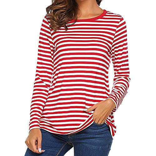 Price comparison product image Xinantime Women Striped Splicing Blouse Tops Long Sleeve Round Neck Basic Tunic Coat Outwear Pullover Jumper Sweatshirt