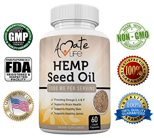 Amate Life Organic Hemp Seed Oil Capsules 1000mg with Omega 3 6 9 for Stress & Anxiety Relief, Joint Support & Brain Health Hemp Extract Skin Regenerator & Brain Supplement for Memory & Focus-60 Pills