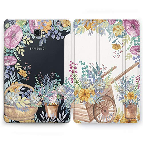 Wonder Wild Flower Pushcart Samsung Galaxy Tab S4 S2 S3 A E Smart Stand Case 2015 2016 2017 2018 Tablet Cover 8 9.6 9.7 10 10.1 10.5 Inch Clear Design Nature Sweet Print Painted Case Plastic Girly]()