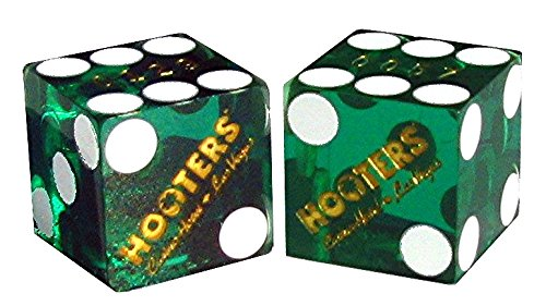 Cyber-Deals Pair (2) Hooter's Casino & Hotel Las Vegas 19mm Authentic Table-Played Dice (Green)