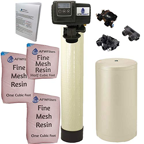 AFWFilters IRONPRO2 Pro 2 Combination Water Softener Iron Filter Fleck 5600SXT Digital metered Valve for Whole House (80,000 Grains, Almond)
