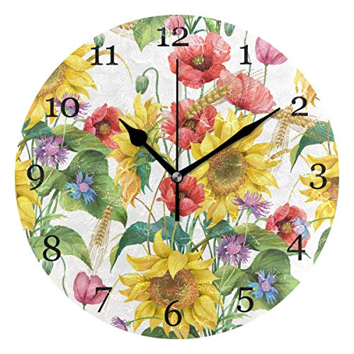 KUWT Flower Poppy Sunflower Pattern Wall Clock Silent Non-Ticking 9.5 Inch Round Clock Acrylic Art Painting Home Office School Decor ()