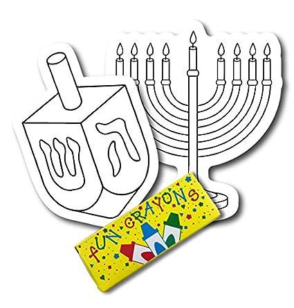 Color Your Own Hanukkah menorá DREIDLE y imanes, 2 unidades, un ...