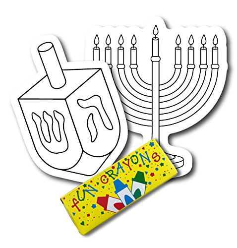 Color Your Own Hanukkah Dreidle and Menorah Magnets, 2 Pack, a Great DIY for You or to Share with a Friend, Decorate Magnetic Menorah and Dreidle Refrigerator Magnets - with -