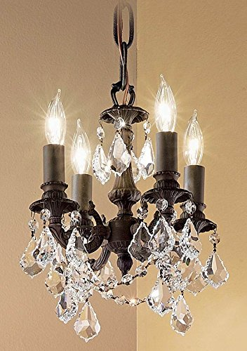 Majestic Imperial 4-Light Mini-Chandelier (Aged Bronze - Crystalique Black)