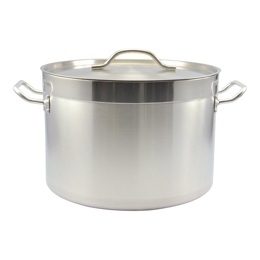 Met Lux 22 Quart Reinforced Induction Ready Dual Handle Sauce Pan with Lid Stainless Steel 1 count box