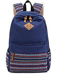 Leaper Causal Style Lightweight Canvas Cute Backpacks School Backpack (Large, Navy Blue+Flower 1)