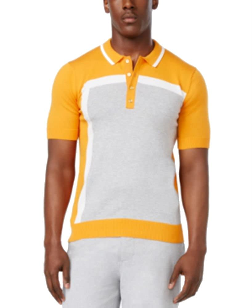 Sean John Mens Colorblock Short Sleeve Polo Sweater MS170101