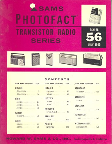 Sams Photofact, July 1965, TSM-56 Transistor Radio Series (Antique Transistor Radios)
