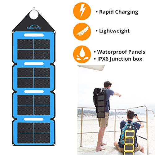 Solar Camp 5V 7.6W Portable USB Solar Charger Waterproof Foldable Camping Travel Charger with 2 USB Compatible iPhone Xs XS Max XR X 8 7 Plus, iPad, Galaxy S9 S8 Edge Note 8, Nexus, GPS(Blue)