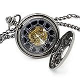 Vantasy Antique Attraction Magic Half Hunter Black Steel Skeleton Hand Wind Mechanical Pocket Watch Long Chain Value Quality