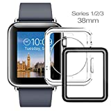 Apple Watch Case 38mm, Apple Watch Screen Protector 38mm, iWatch Case, Ultra Thin Clear TPU Cover + Full Coverage Scratch Proof Glass Screen Film for Apple iWatch 38mm Series 1/2/3