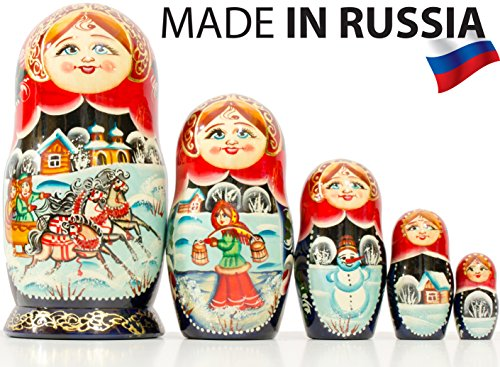 Russian Nesting Doll - Village Scenes - Hand Painted in Russia - 5 Color/Size Variations - Traditional Matryoshka Babushka (6.75``(5 Dolls in 1), Scene I) by craftsfromrussia (Image #5)