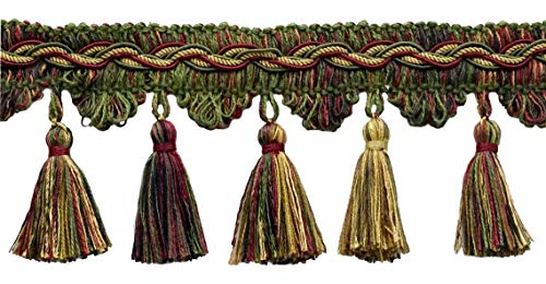 DÉCOPRO 5 Yard Value Pack of Veranda Collection 3.5 Inch Tassel Fringe Trim - Burgundy Wine, Olive Green, Yellow Gold, Black, Style# VTF035, Color: Evergreen Berries - VNT19 (4.5M / 15 Ft)