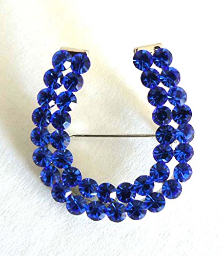 Brand New Lucky Horseshoe Brooch Pin Rhinestone Crystal Jewelry Royal Blue Brooch Jewelry Mold