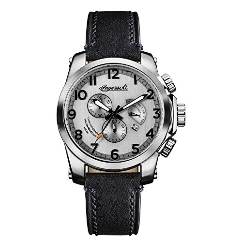 Ingersoll Men's Quartz Stainless Steel and Leather Casual Watch, Color:Black (Model: I03002)