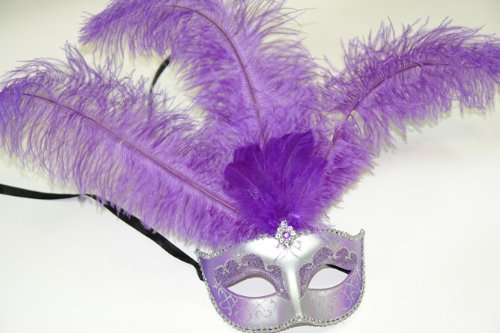 Feather Masquerade Mardi Gras Venetian Mask in Purple and Silver Color