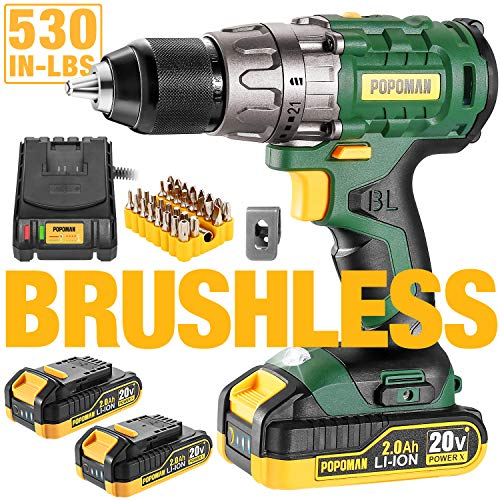 Cordless drill, 20V Brushless 1/2″ Drill Driver, 2x2000mAh Batteries, 530 In-lbs Torque, 21+1 Torque Setting, Fast Charger 2.0A, 2-Variable Speed, 33pcs Accessories, POPOMAN BHD300B
