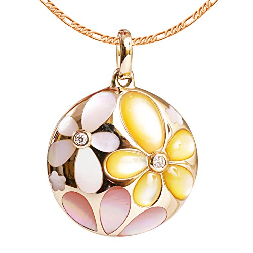 9K High Polished Rose Gold with White-Yellow-Pink Pearl and 0.02ct Diamond Gorgeous Pendant