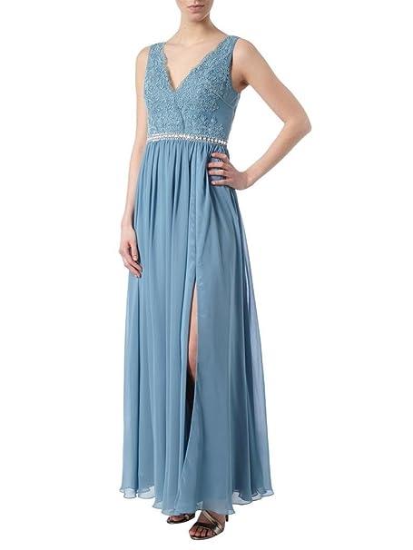 Charm novia Prom Vestido Gasa Encaje Novia madre vestido vacaciones cuello en V Cremallera Azul azul