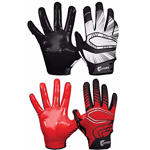 Receiver Cutters Glove Football (Cutters Gloves REV Pro Receiver Glove (Pair) Black+Red Large)