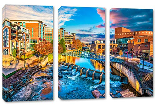 30 x 20 Total - Greenville SC Canvas Print Wall Art - 3 Panel Split, Triptych USA Home Decor, Interior Design -