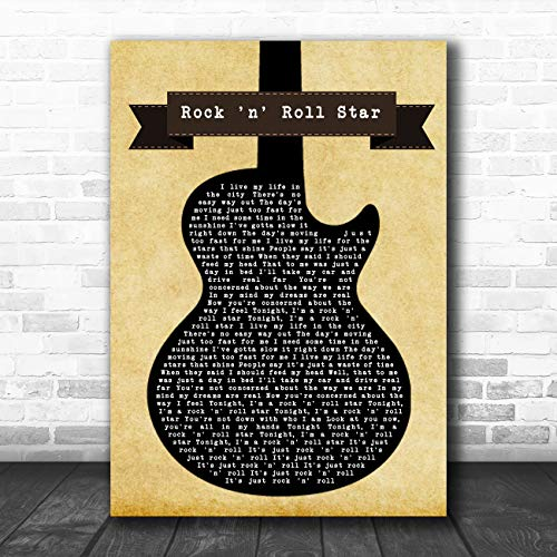 (Rock n' Roll Star Black Guitar Song Lyric Art Music Quote Gift Poster Print)