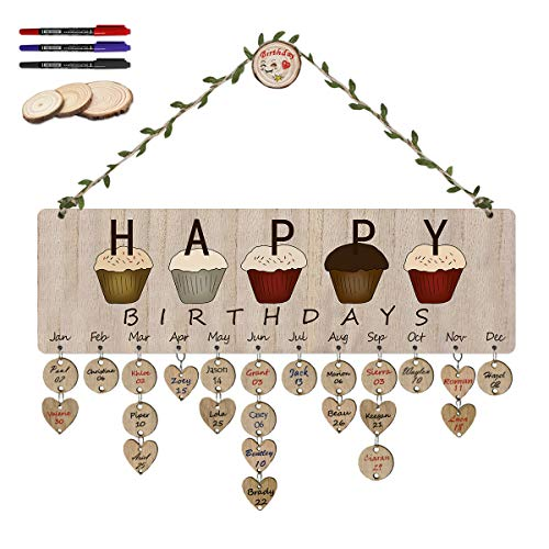 ElekFX Happy Birthday Hanging Calendar Wood Wall Plaque [with 100 Pack Discs] DIY Birthday Reminder Wall Calendar Board for Home ()