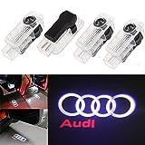 Ricoy For Audi A1 A3 A4 A5 A6 A8 Q7 TT R8 LED Logo Light Shadow Projector Car Door Courtesy Laser (Pack of 4) … (Audi(No Circle))