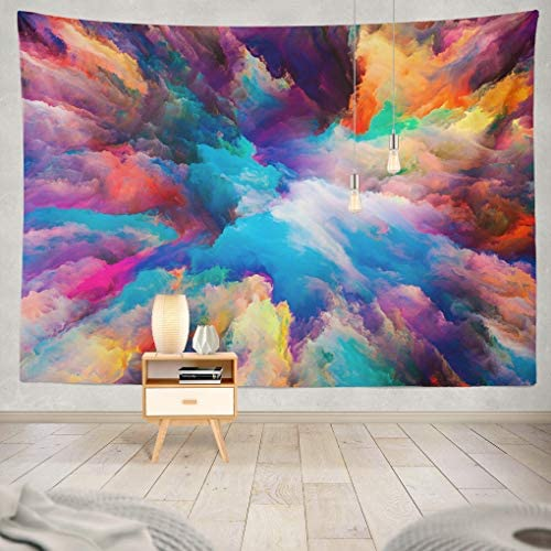 Colorful Tapestry, Summor Tapestry Wall Art Color Splash Series Fractal Paint Rich Hanging Tapestries 60 x 80 inch Wall Hanging Decor for Bedroom Living room Dorm