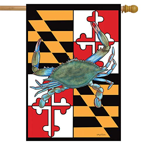 "Briarwood Lane Maryland Summer House Flag Crabs Nautical 28"" x 40"""