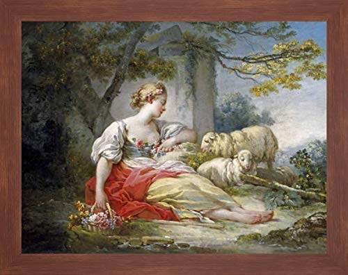 Shepherdess Seated with Sheep and a Basket of Flowers Near a Ruin in a Wooded Landscape by Jean Honore Fragonard - 34