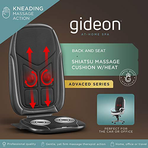 Gideon GD-MSG-CS2 Luxury Six-Program Customizable Massaging Cushion with Heat/Shiatsu Deep Kneading, Rolling and Vibrating, Massage Full Back, Upper Back, Lower Back Or Pinpoint Precise Massage Spot