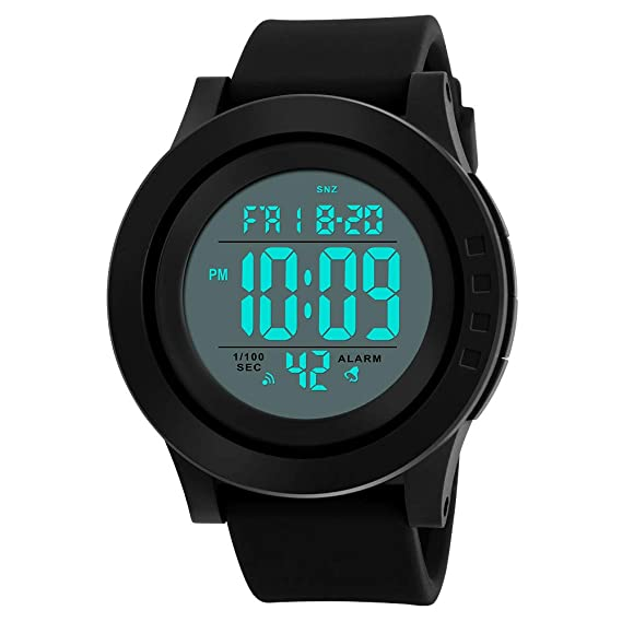 Reloj Digital para Hombre con cronómetro clásico electrónico LCD retroiluminado Hora Militar, 50 m Impermeable Reloj Deportivo para Hombre Reloj de Pulsera ...