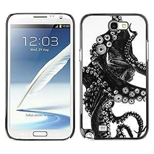 Caucho caso de Shell duro de la cubierta de accesorios de protección BY RAYDREAMMM - Samsung Galaxy Note 2 N7100 - Black White Photo Tentacle Monster