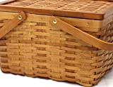Vintiquewise QI003152.S Chipwood Picnic Basket with Folding Handles, 12.5 x 9.5 x 7 inches, Brown