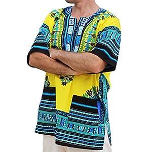 RaanPahMuang Unisex African Bright Dashiki Cotton Shirt Variety Colors