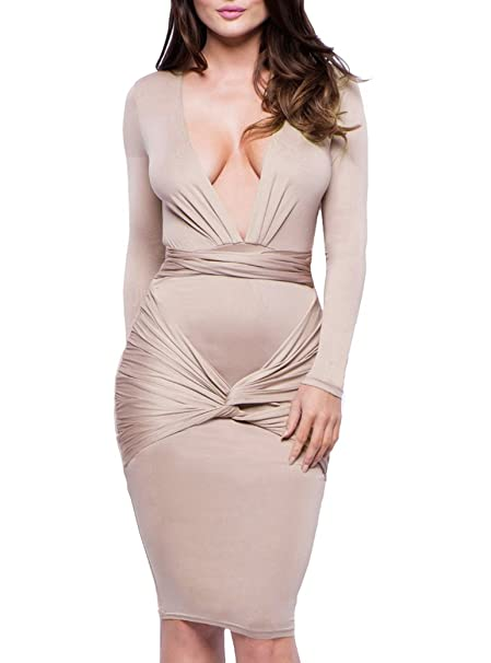 79ceea43b34b Romastory Womens Long Sleeve Deep V Stretch Bodycon Bandage Club Prom Dress  (S