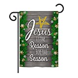 Ornament Collection GS191076-BO Jesus is The Reason for The Season Winter Nativity Impressions Decorative Vertical 13″ x 18.5″ Double Sided Garden Flag Set with Banner Pole Included Printed in USA