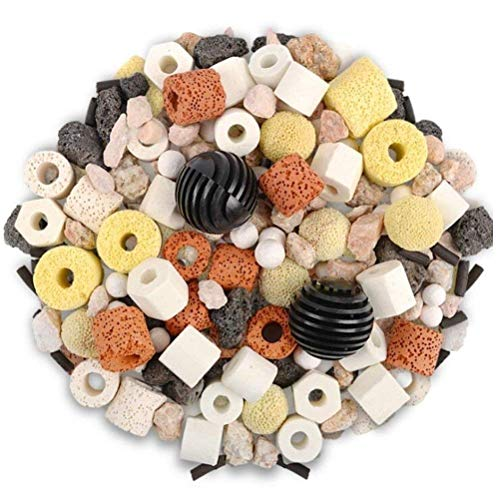 OUFISH Aquarium Bio Balls Fish Tank Pond Bio Filter Media Ceramic Biological Filtration Rings with Mesh Bag