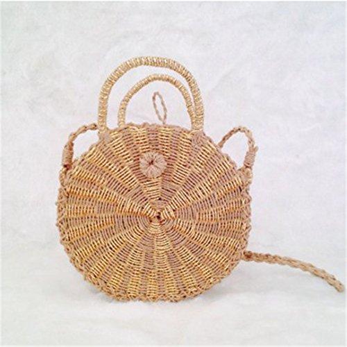 Rattan Hombro Bohemia Knitting A De beige De Black Redonda Beach Tejida Bag Stripe Gold Sac Bolsa Women Paja Double Mano Hecha Summer Bolsa zgp4gZq